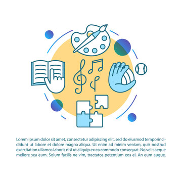 After school program article page vector template. Learning classes. Brochure, magazine, booklet design element with linear icons and text boxes. Print design. Concept illustrations with text space