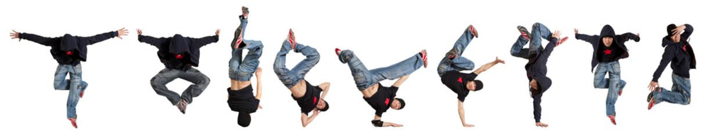 Man break dancing isolated
