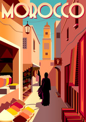 On the street of the old town in Marrakech with traditional shops and a mosque in the background. Handmade drawing vector illustration. Retro style poster.