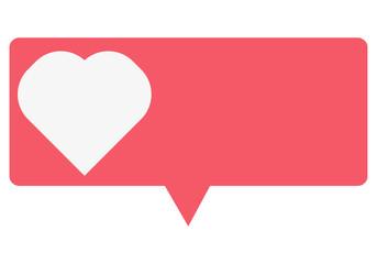 Bocadillo rosa de me gusta de redes sociales.