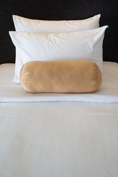 New bed and pillow in bedroom at Thailand resort.