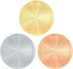 Set empty round templates gold silver bronze coins