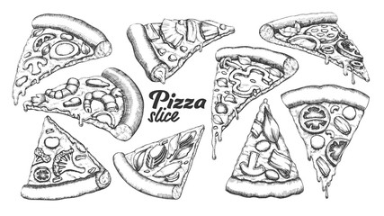 Assortment Different Slice Pizza Set Ink Vector. Collection Slice Cheese Pizza With Ingredients Mushroom And Shrimp Prawn, Tomatoes And Onion Concept. Designed Template Black And White Illustrations