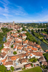 Fribourg old town with the Zaeringhen bridge over the Sarine river and the Saint Nicolas cathedral in Switzerland
