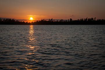 Summer lake sunset in Sweden