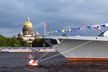 """ST. PETERSBURG, RUSSIA - JULY , 2019: Frigate """"Admiral of the fleet Kasatonov» in Neva river preparing to the parade dedicated to Navy Day. It's celebrated in the last Sunday of July"""