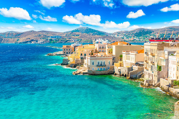 Wall Mural - Colorful landscape of Greek Island Syros. Ermoupoli town along the Aegean Sea, Greece.
