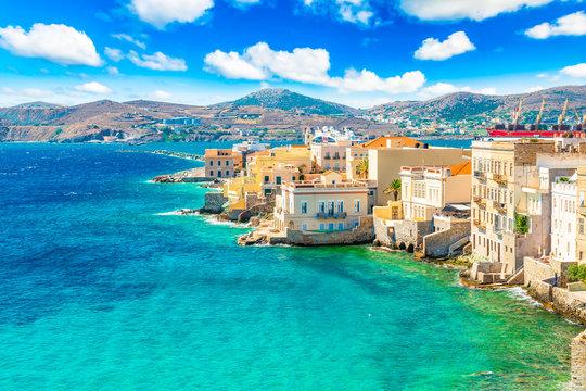 Colorful landscape of Greek Island Syros. Ermoupoli town along the Aegean Sea, Greece.