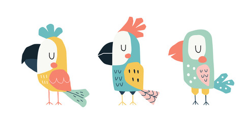 Cute parrots in a childish scandinavian style. Funny kids vector illustration. Cartoon hand drawn colorful set.