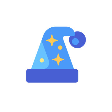 Blue night cap with stars. Sleeping hat flat icon