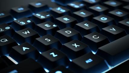 Backlit keyboard close up. Black keys with illuminated characters.