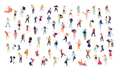 Crowd of young people dancing at club. Big set of characters having fun at party. Flat colorful vector illustration.