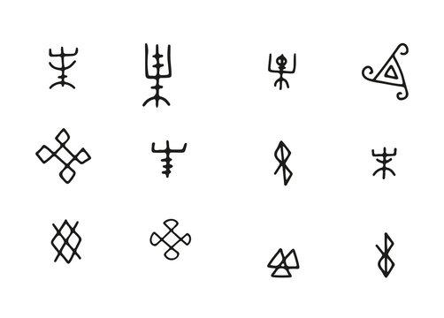 Simple Futhark norse islandic and viking runes set. Magic hand draw symbols as scripted talismans. Vector ancient runes of vikings. Galdrastafir, mystic signs of early North magic. Ethnic norse viking