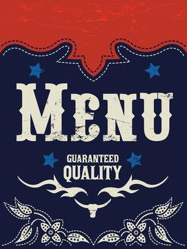 Restaurant Menu Design, Western Wild West style vector cover.