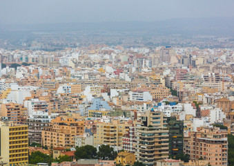 Foto op Canvas Barcelona Panoramic top view of the buildings and houses of the city of Palma de Mallorca