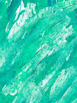 Original acrylic texture, in shades of green and olive, with white details, for background or design