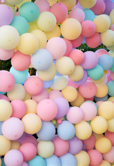 Pink balloon wall at the music festival