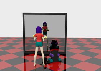 3d Mädchen trainiert mit Kurzhanteln vor einem großen Spiegel. 3d render