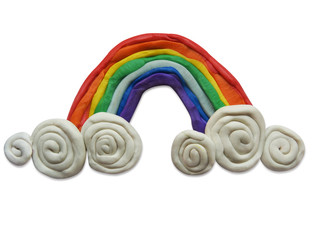 Plasticine rainbow isolated on white background.