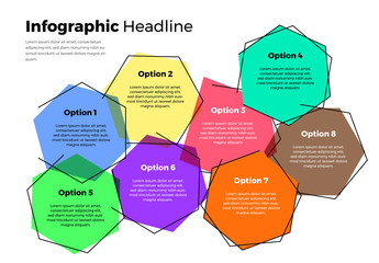 Hexagon Info Chart Layout with Colored Accent