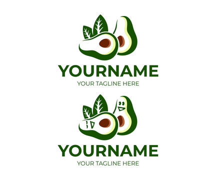 Avocado fruit and avocado cartoon character, logo design. Food, eating and vegetarian meal, vector design and illustration