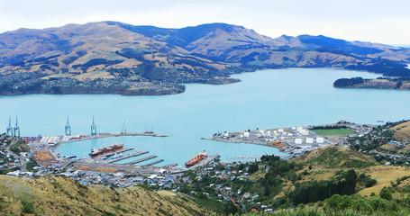 Aerial of Lyttelton, New Zealand near Christchurch