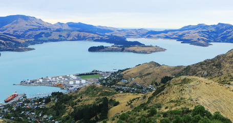 Aerial view of Lyttelton, New Zealand by Christchurch