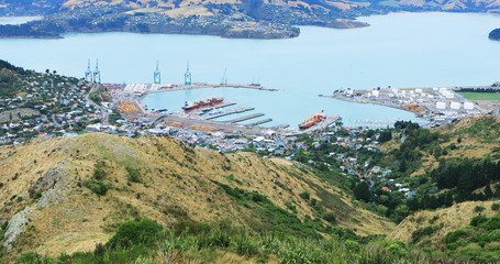 Aerial of Lyttelton, New Zealand by Christchurch