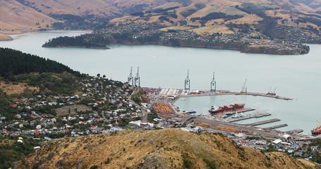 Aerial of Lyttelton harbor, New Zealand near Christchurch