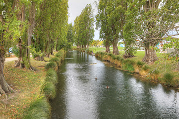 River view in downtown Christchurch, New Zealand