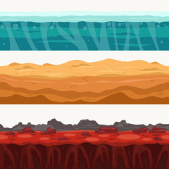 Soil Seamless layers surroundings with Rock stone. Water surface, volcanic lava, desert sand. Vector
