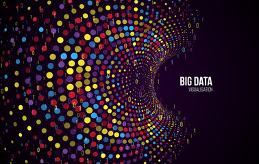 Big data visualization. Abstract background with dots array and binary code. Connection structure. Data array visual concept. Big data connection complex. Fotoväggar