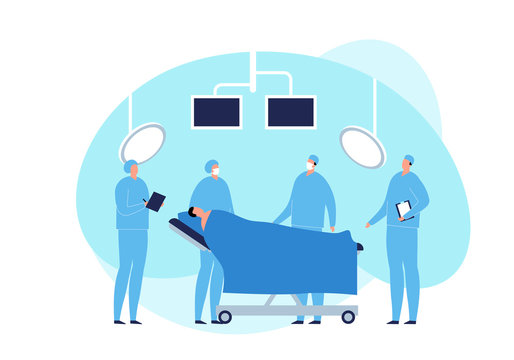 Vector modern flat surgery illustration. Surgeon with patient on coach in operating room with monitor and lamp on fluid shape background. Design element for medicine web, ui, poster, banner.