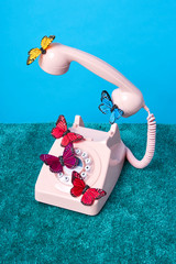 Butterflies on pink rotary phone