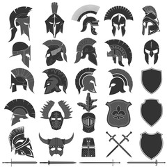 Spartan Helmet logo set, Greek warrior. Spartan warrior Helmet