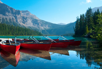 Recess Fitting Canada Canoes near the shore of Emerald Lake in Yoho National Park, Canada.