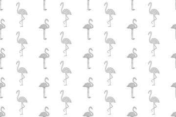 Seamless abstract wallpaper with flamingos. Hand drawn birds. Print for polygraphy, shirts and textiles. Cute texture. Pattern for design. Black and white illustration