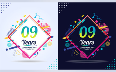 9 years anniversary with modern square design elements, colorful edition, celebration template design.