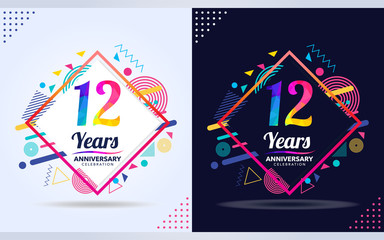 12 years anniversary with modern square design elements, colorful edition, celebration template design. Fototapete