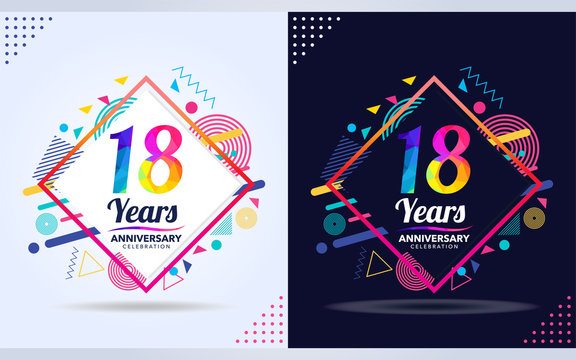 18 years anniversary with modern square design elements, colorful edition, celebration template design.