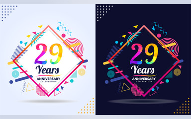 29 years anniversary with modern square design elements, colorful edition, celebration template design