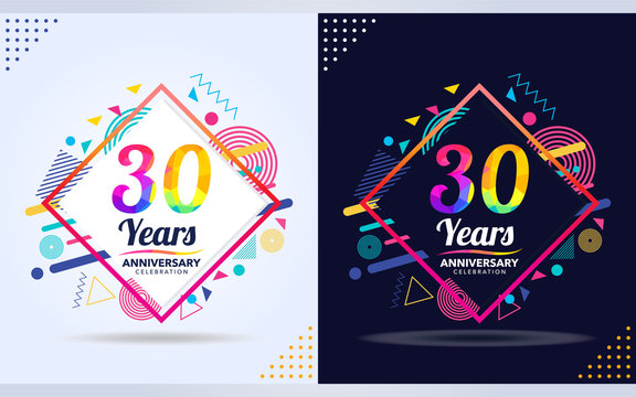 30 years anniversary with modern square design elements, colorful edition, celebration template design
