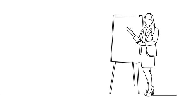 Continuous line drawing of a woman writing graph marketing executive on the board. business woman showing data. Meeting and marketing concept. Business woman presenting on white board.