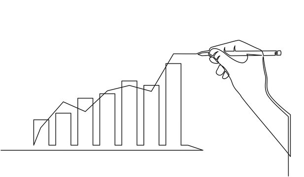 continuous line of businessman drawing graph growing. Design Illustration of the concept of business success through growth graph. Investor. Profit Stock Market. Business concept.