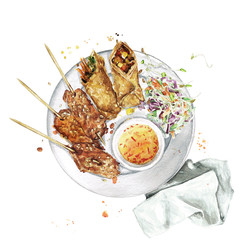 Spring rolls and chicken. Watercolor Illustration