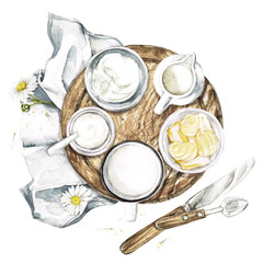 Dairy Products - Countryside Style. Watercolor Illustration