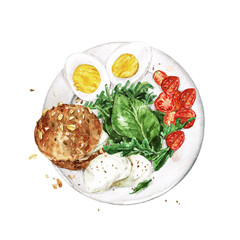 Foto op Plexiglas Waterverf Illustraties Healthy Breakfast - bread, eggs, cheese, greens and tomatoes. Watercolor Illustration