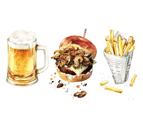 Burger, Beer, Fries combo. Watercolor Illustration