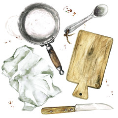 Foto op Textielframe Waterverf Illustraties Old Rustic Cookware. Watercolor Illustration