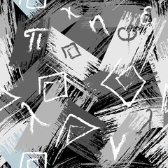 Greek monochrome grunge seamless pattern. Vector grungy brush strokes background. Chalk doodle hand drawn greek letters, symbols, greek key meanders ornament. Modern trendy textured repeat design